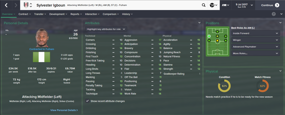 Sylvester Igboun, Football Manager 2015, FM15, FM 2015, 4th Season Screenshot