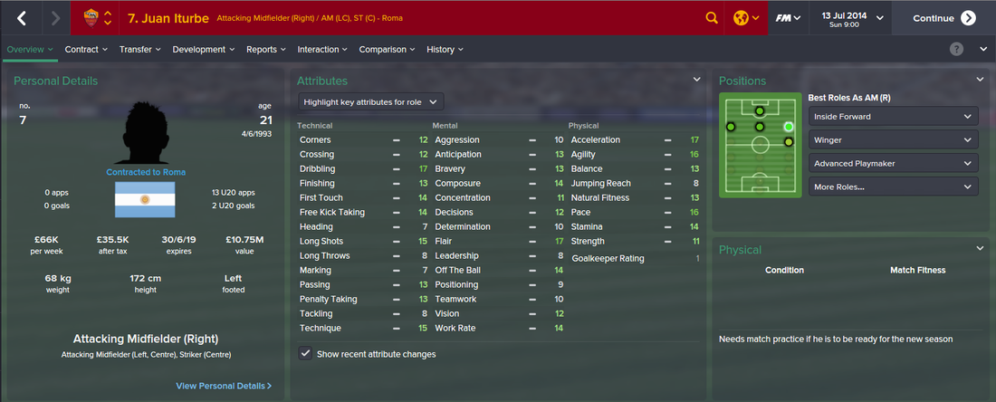 Juan Iturbe, FM15, FM 2015, Football Manager 2015, 1st Season Screenshot