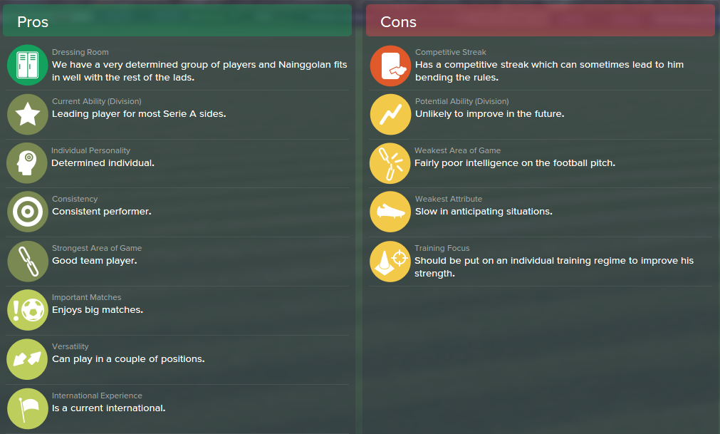 Radja Nainggolan, FM15, FM 2015, Football Manager 2015, Scout Report, Pros & Cons