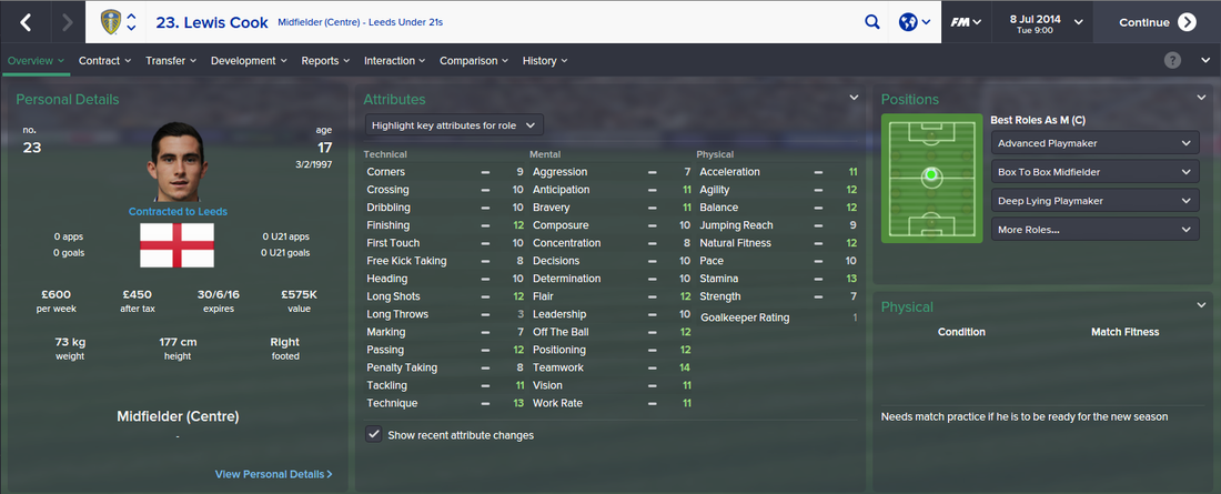 Lewis Cook, FM15, FM 2015, Football Manager 2015, 1st Season Screenshot