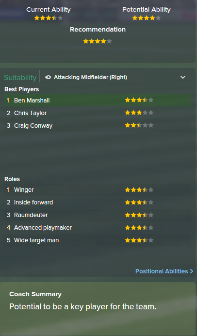 Ben Marshall, FM15, FM 2015, Football Manager 2015, Scout Report, Current & Potential Ability